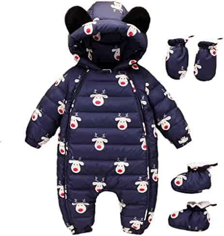 5dd29acc1 Beide Baby Christmas Hooded Winter Puffer Snowsuit with Shoes and Gloves