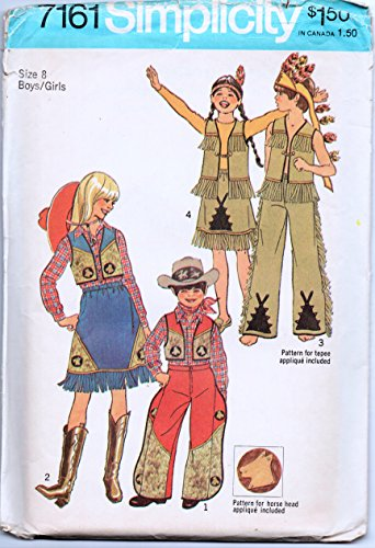 [Simplicity 7161 Vintage 70s Child's Costume Sewing Pattern, Native American and Cowboy/Girl Check listings for] (70s Costume Patterns)