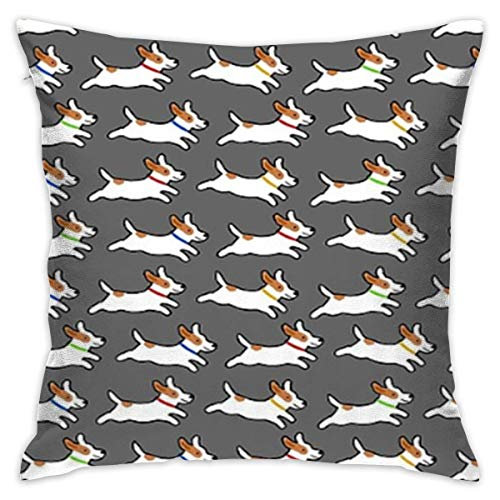 Personalized Square Throw Pillow Cover Cotton Decorative Cushion Case Protector for Home Office Sofa Decor 18×18 Inch - Cute Jack Russell Terrier