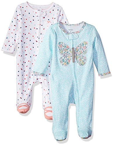 Carter's Baby Girls' 2-Pack Cotton Sleep and Play, Butterfly/Dot, 3 Months