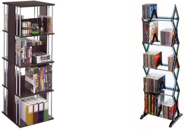 Atlantic Typhoon Media Spinner Unit - Fully Rotates 360 Degrees on a Ball Bearing Base, Holds 216 CDs, 144 DVDs & Mitsu 5-Tier Media Rack - 130 CD or 90 DVD/BluRay/Games in Clear Smoke Finish