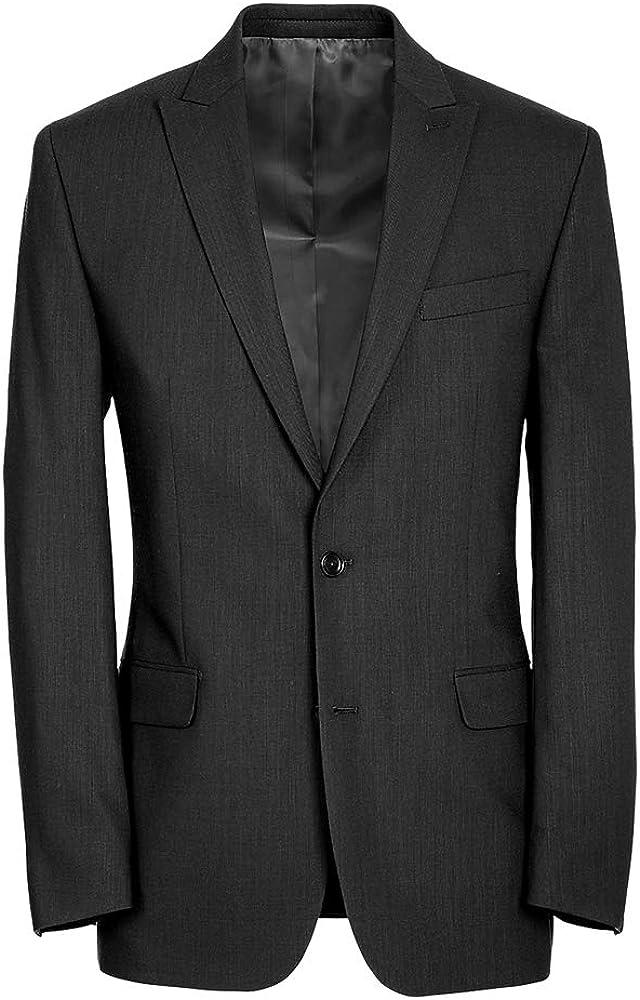 Paul Fredrick Men's Classic Fit Essential Wool Peak Lapel Side Vents Suit Jacket Black 46 Extra-Long RA1815J
