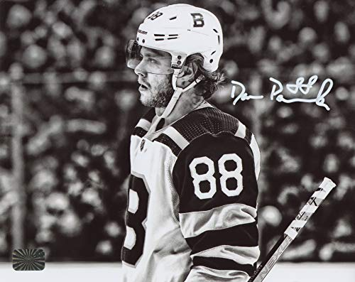 David Pastrnak Boston Bruins Signed Autographed Close-up Black and White 8x10