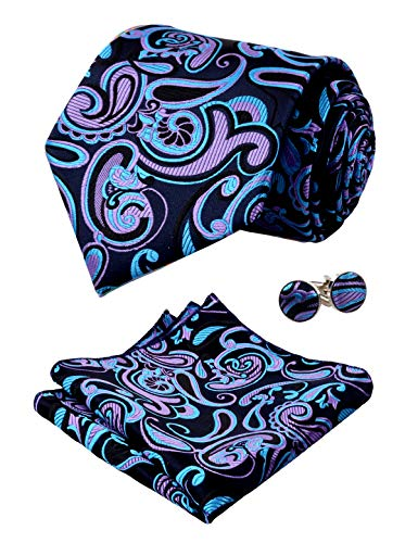 Alizeal Mens Floral Paisley Tie, Hanky and Cufflinks Set, Navy+Black+Purple