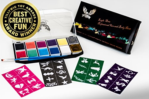 Award Winning Face & Body Paint Professional Palette by Eagle Art | Water Based Paint | Non-Toxic Hypoallergenic | FDA Approved Completely Safe Cosmetic Grade Face painting Kit | Ideal (Halloween Stencils For Painting Pumpkins)