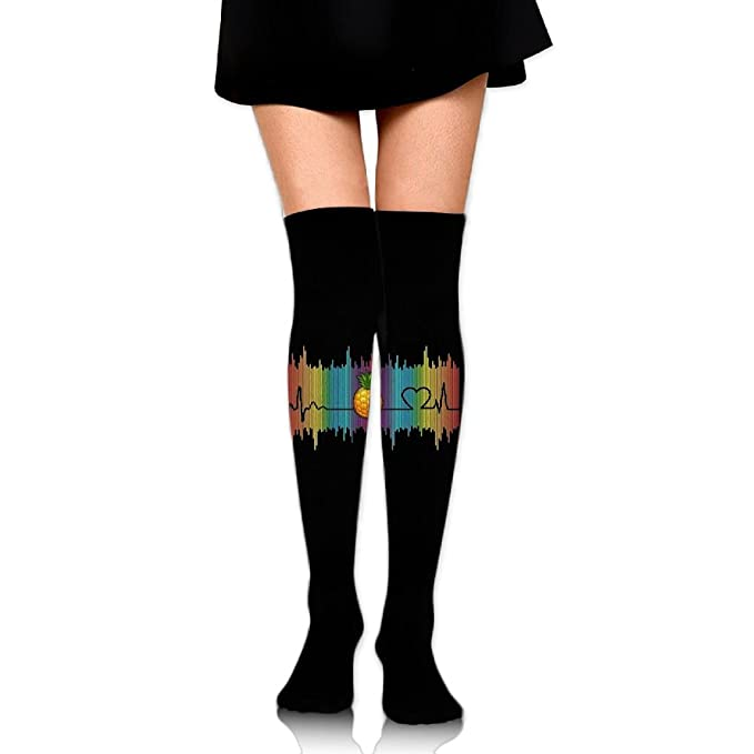 0fee96062 Amazon.com  CHI-M Women s Over Knee High Socks Rainbow Heartbeat Pineapple  60 Full Stockings  Clothing