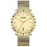 Best Bulova Mens Bracelets - Bulova 97B129 Men's Watchs BA11 Gold Steel Bracelet Review