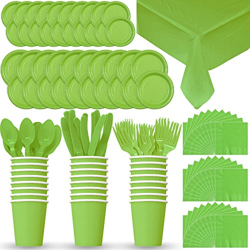 Disposable Paper Dinnerware for 24 - Lime Green - 2 Size plates, Cups, Napkins , Cutlery (Spoons, Forks, Knives), and tablecovers - Full Party Supply Pack