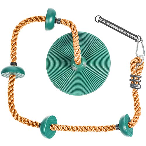 (Tree Climbing Rope and Kids Swing: Climbing Rope for Kids with Foot Hold Platforms, Disc Tree Swing Seat, and Hanging Kit with Tree Strap - Outdoor Swings and Swing Set Accessories - Rope Swing, Green )