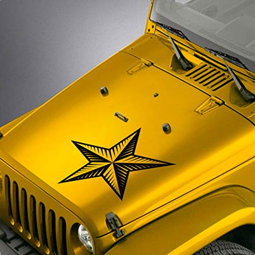 (SkunkMonkey - Jeep Wrangler TJ LJ JK JKU Hood Decal - Nautical Star Sticker - Red Stickers)
