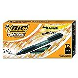 BIC Soft Feel Ball Pens Retractable, Black, Medium Point, Dozen Box