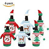 ZKLKLO Christmas Wine Bottle Covers Christmas Wine Bottle Gift Wrap Knitted Wine Sweaters Cover Bag-Set of 6