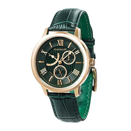 Thomas Earnshaw Men's 'CORNWALL' Quartz Stainless Steel and Leather Casual Watch, Color:Green (Model: ES-8060-02)