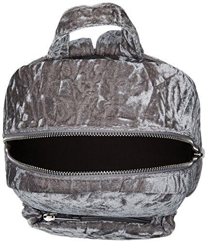 New Look Velvet Mini - Borse a zainetto Donna, Grey (Mid Grey), 7x23x24 cm (W x H L)