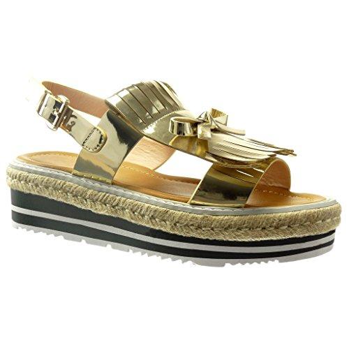 Angkorly Women's Fashion Shoes Sandals Espadrilles - Platform - Fringe - Knot - Node - Patent Wedge 5 cm Gold Mdt8iHDV