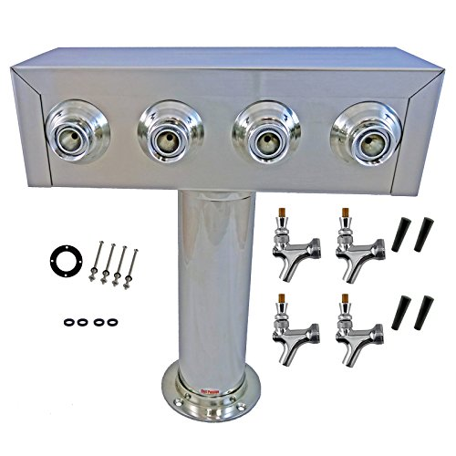 Bev Rite CTT4-186 4 Product Draft Beer Kegerator T Tower, Stainless Steel Body, 4 Faucets,
