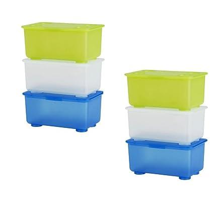6 x IKEA GLIS pequeñas cajas de almacenamiento de plástico con tapa, blanco/verde