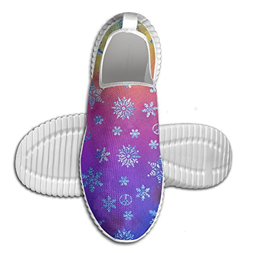Peace Snow (Christmas Eve Peace Snowflake Lightweight Breathable Casual Sports Shoes Fashion Sneakers Walking Shoes 43)