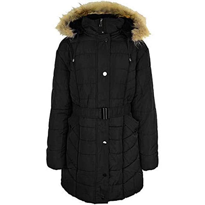 a3fa8b7de0a Fashion Thirsty Ladies Womens Plus Size Fur Hooded Winter Coat Quilted  Padded Puffa Parka Jacket  Amazon.co.uk  Clothing