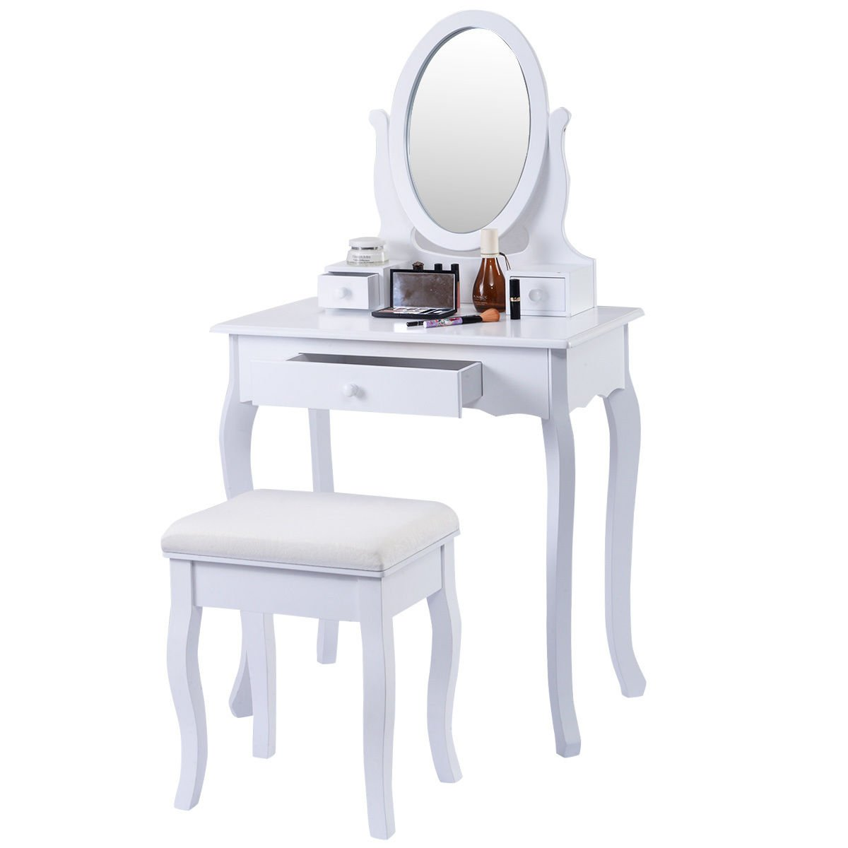 Furinho Bush - White Vanity Table Jewelry Makeup Desk Bench Dresser w/ Stool 3 Drawers YRS 1227