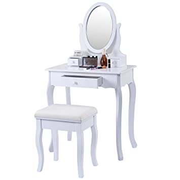 White Vanity Table With Mirror And Bench. COSTWAY Vanity Table Jewelry Makeup Desk Bench Dresser w  Stool 3 Drawers White Amazon com