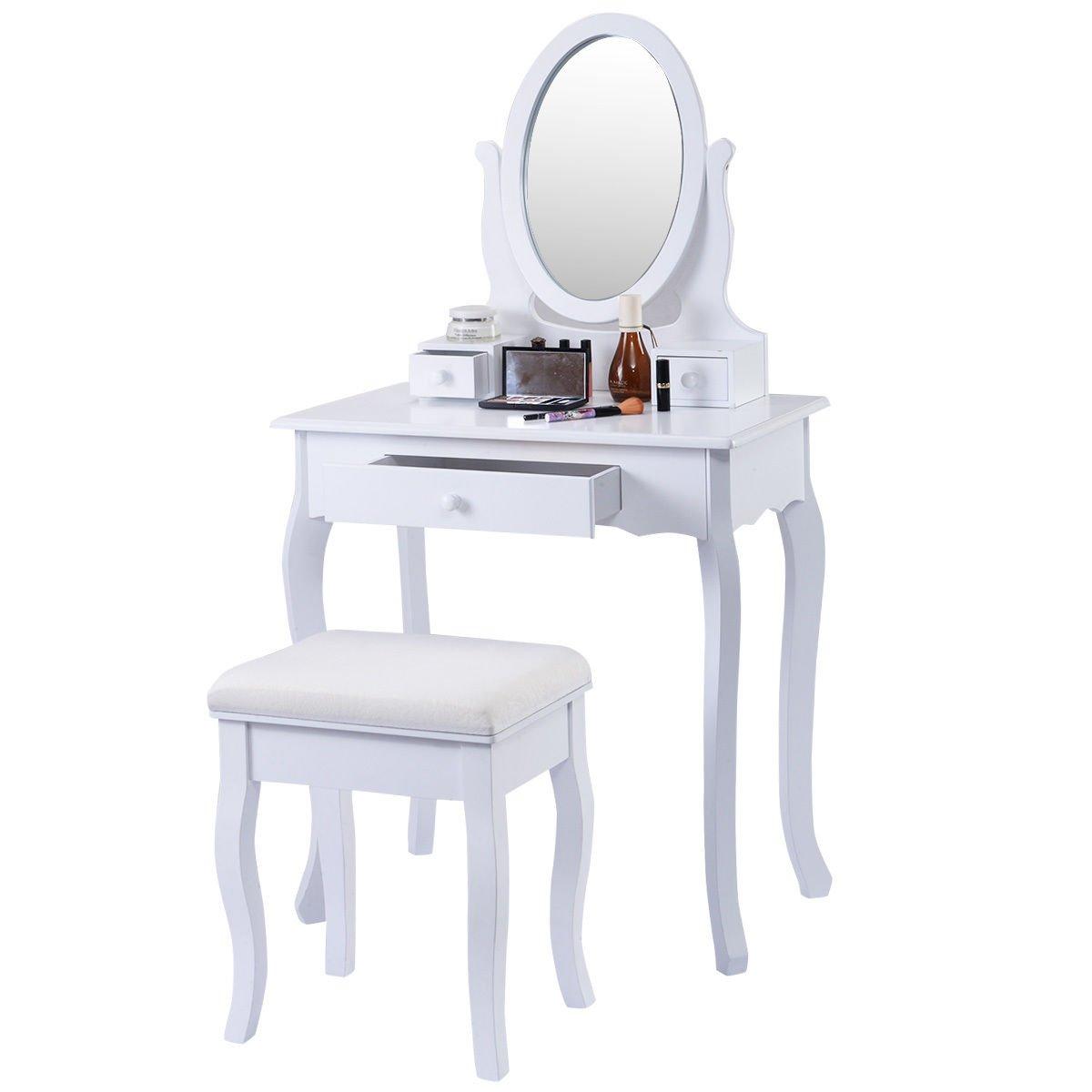Giantex White Vanity Table Jewelry Makeup Desk Bench Dresser w/ Stool 3 Drawers