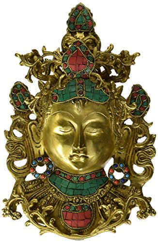 Aone India Large Tara Buddha Wall Hanging Turquoise Buddhism Wall Mask Devi Brass Wall Sculpture Art Decor Gifts + Cash Envelope (Pack Of (Art Deco Wall Masks)