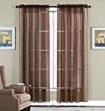 Brown Curtains WPM 2 Piece Beautiful Sheer Window Elegance Curtains/drape/panels/treatment 60