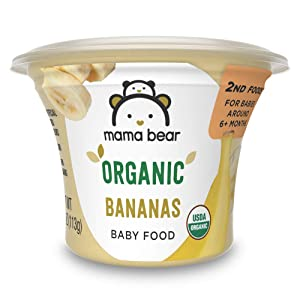 Amazon Brand - Mama Bear Organic Baby Food, Bananas, 4 Ounce Tub, Pack of 12