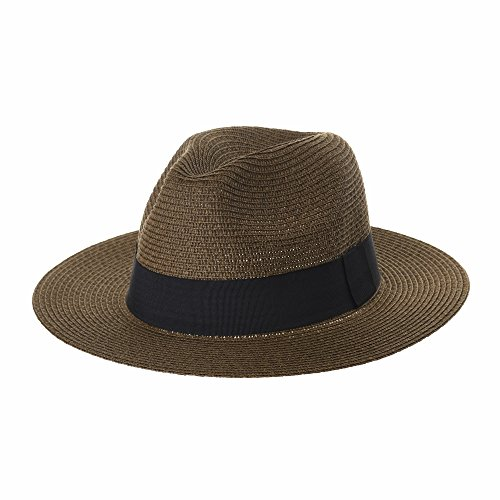 Brim Summer Marrone Hat Banded Fedora Panama Black Cappello Cool Wide Sl6690 Withmoons cTqfzW0Fq