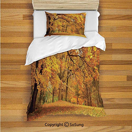Farm House Decor Kids Duvet Cover Set Twin Size, Gold Fall Scenery with Pale Maple Leaves in The Forest November Season Woodlands 2 Piece Bedding Set with 1 Pillow Sham,Orange - Maple Bed Twin Bunk Size