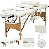 All Goodly 84''L 3 Fold Portable Massage Table Facial SPA Tattoo Bed+2 Bolster + Cradle + Hanger +Free Carry Case (WHITE)