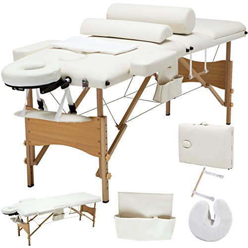 All Goodly 3 Fold 84″L Portable Massage Table / SPA / Tattoo Bed+2 Bolster + Cradle + Hanger w Free Carry Case (WHITE)
