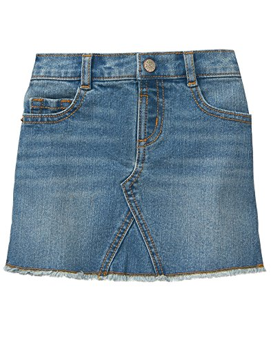 Denim Zip Fly Skirt - Crazy 8 Little Girls' Raw Hem Denim Skirt, Medium Wash Denim, 7