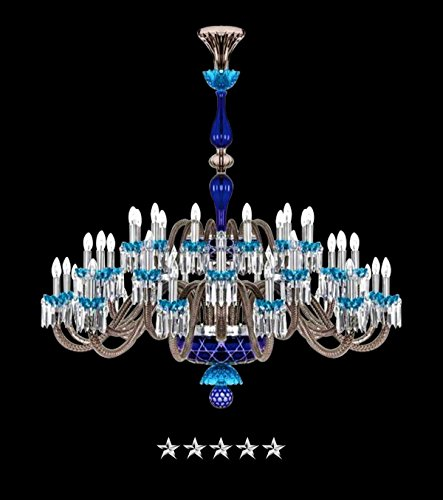 Saint Louis Aqua Harlequin 36 Light Crystal Chandelier