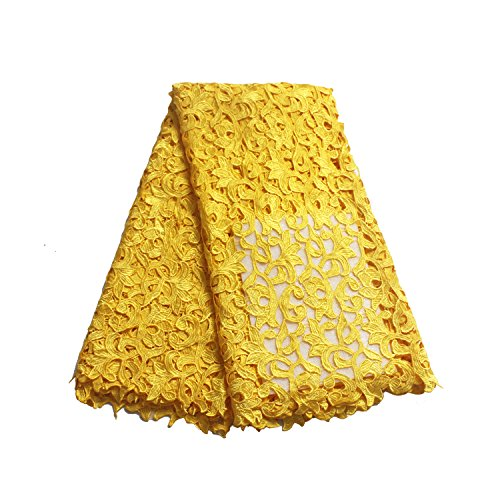 LaceQin 5 Yards French Hollow Water Soluble Embroidery lace Fabric 4 Colors (Yellow) ()