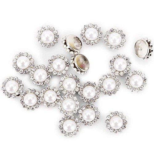 200Pcs Crystal Pearl Buttons, Round Flatback Rhinestone Beads Buttons with Diamond, DIY Craft Sewing Fasteners Accessories for Jewelry Making, Clothes, Clothing, Bags, Shoes, Wedding Dress 10mm ()
