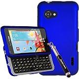 3-in-1 Bundle LG Enact VS890 (Verizon) Rubberized Shield Hard Case - Blue (Package include Premium Screen Protector + Ultra-Sensitive Stylus Pen by BeautyCentral TM)
