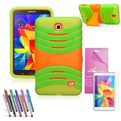 EpicGadget(TM) Green and Orange Durable Heavy Duty Rugged Impact Hybrid Case with Build In Kickstand Protective Case For Samsung Tablet Galaxy Tab 4 7.0 inch With Galaxy Tab 4 SM-T230 Clear Screen Protector And Universal Long Touch Stylus Pen (US Seller!!) (X Stand Green) - Universal 7 Inch Tablet Hard Case