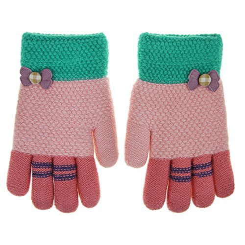 Christmas Drummer Boy Costumes - Baby Girls Kids Cute Bowknot Winter Warm Gloves Thick Wool Knit Full Finger Gloves Children Girls Boys Assorted Color Magic Ski Gloves Mittens, Xmas Gift(Pink)