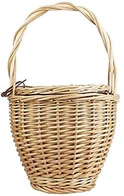 Handmade Praia Straw Birkin Basket with Lid Lunchbox Handle Wicker Tote Blogger Small Bag
