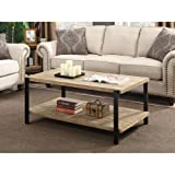 Convenience Concepts Wyoming Large Coffee Table, Natural Fir & Black