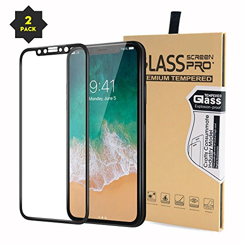 iPhone X Full Screen Protector Tempered Glass,EXTREE [2 Pack 0.18MM 9H 3D] [Case Friendly] [Easy Install] Full Coverage Tempered Glass for iPhone x/10