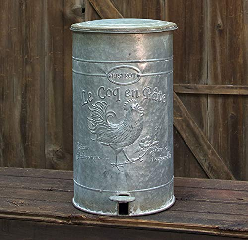 Country Crafts Metal Rooster Trash Bin G60164