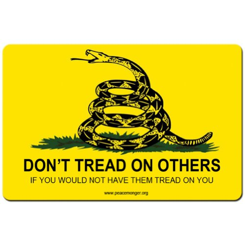 Price comparison product image Don't tread on others if you would not have them tread on you Large Bumper Sticker