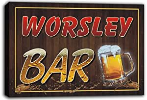 scw3-013837 WORSLEY Name Home Bar Pub Beer Stretched Canvas Print Sign