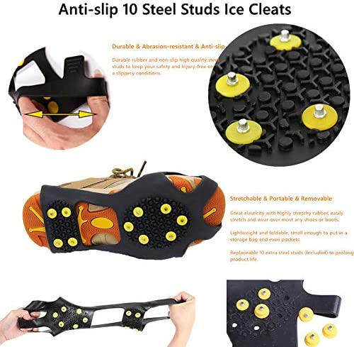 5 Tooth Ice Snow Gripper Climbing Non Slip Spikes Grip Crampon Cleats Ice Gripper Stud Shoes Cover Spring Claw Crampon Abimy Ice /& Snow Grips