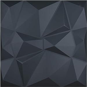 "Art3d 3D Leather Tiles Decoartive 3D Wall Panels, Black Diamond 23.6"" x 23.6"" (6 Pack)"