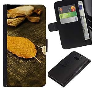 HTC One M8 Modelo colorido cuero carpeta tirón caso cubierta piel Holster Funda protección - Autumn Wood Grain Nature