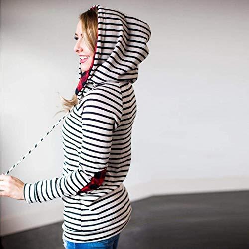 Fashion Fashion Ragazza Reticolo Felpa Felpa Felpa Bianca Allentato Cappuccio Donna Cappuccio Hipster Hoodys con Eleganti Manica Hoodie Autunno Hot Lunga Felpa Chic Felpe Stripe Sciolto Invernali rr1twX